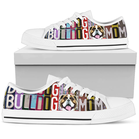Women's Low Top Canvas Shoes For Bulldog Mom