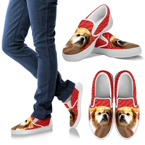 Tibetan Spaniel Print-Slip Ons For Women-Express Shipping