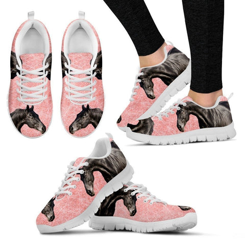 Thoroughbred Horse Print (Black/White) Running Shoes For Women-Free Shipping
