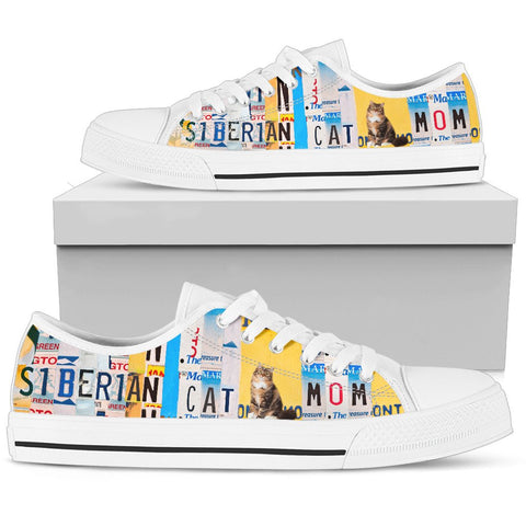 Women's Low Top Canvas Shoes For Siberian Cat Mom