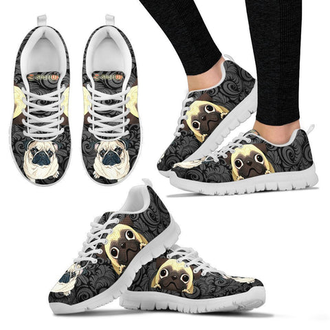 Pug On Black-Women's Running Shoes-Free Shipping
