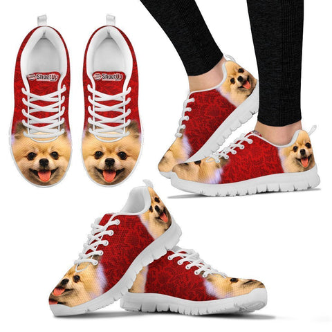 Cute Pomeranian On Red Print Running Shoes For Women- Free Shipping