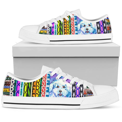Women's Low Top Canvas Shoes For Bichon Frise Mom