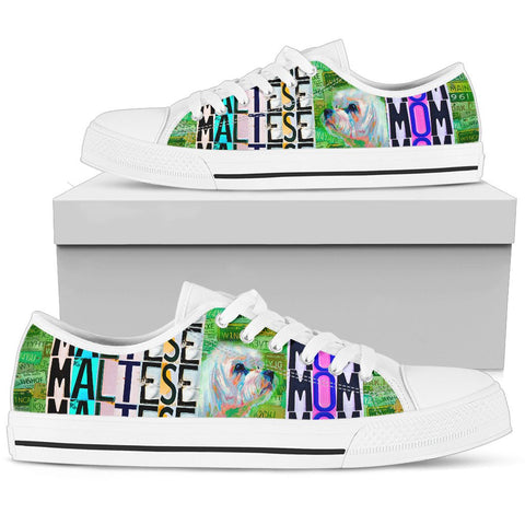 Women's Low Top Canvas Shoes For Maltese Mom
