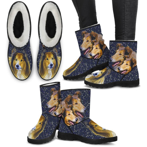 Amazing Collie Print Faux Fur Boots For Women-Free Shipping