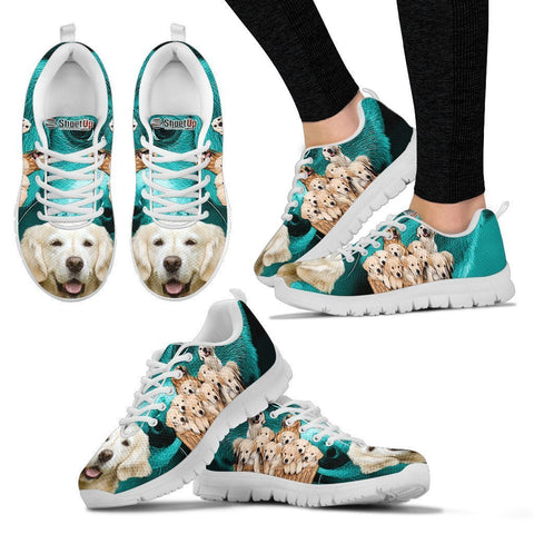 Golden Retriever On Deep Skyblue Print Running Shoes For Women- Free Shipping