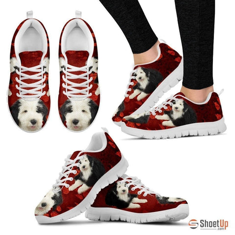 Old English Sheepdog Print Sneakers For Women(White)- Free Shipping
