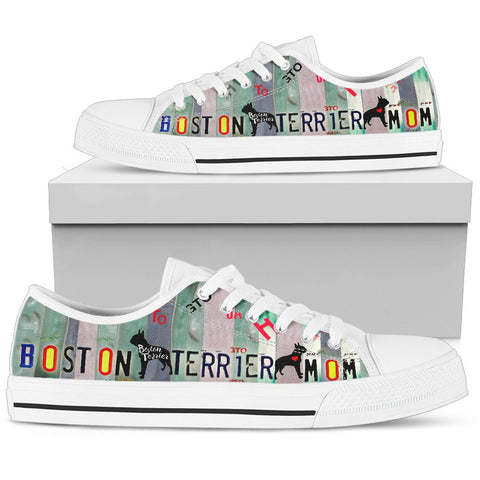 Amazing Boston Terrier Mom Print Low Top Canvas Shoes for Women