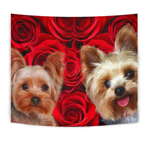 Yorkshire Terrier On Red Print Tapestry-Free Shipping