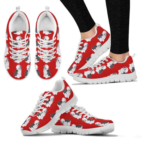 Old English Sheepdog Pattern Print Sneakers For Women- Express Shipping