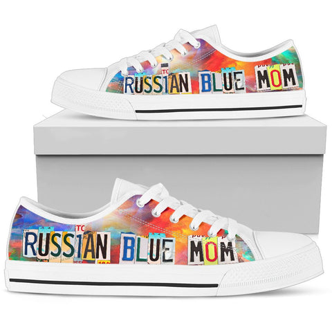 Russian Blue Mom Print Low Top Canvas Shoes for Women