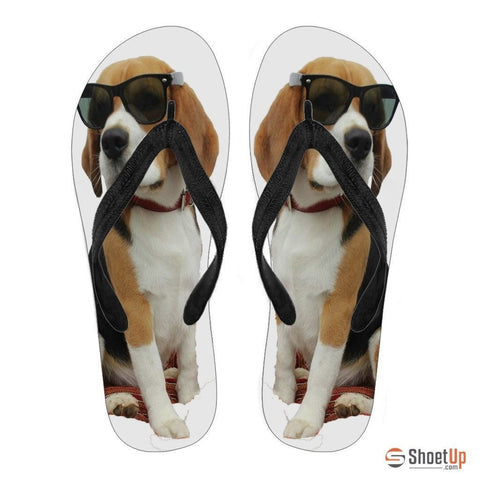 Beagle Print Flip Flops For Women- Free Shipping