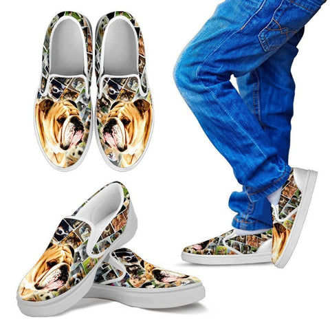 Amazing Bulldog Print Slip Ons For Kids-Express Shipping