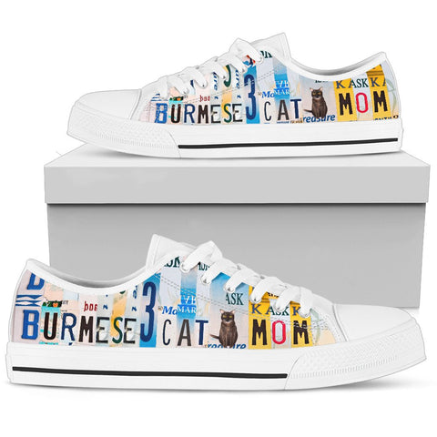 Women's Low Top Canvas Shoes For Burmese Cat Mom