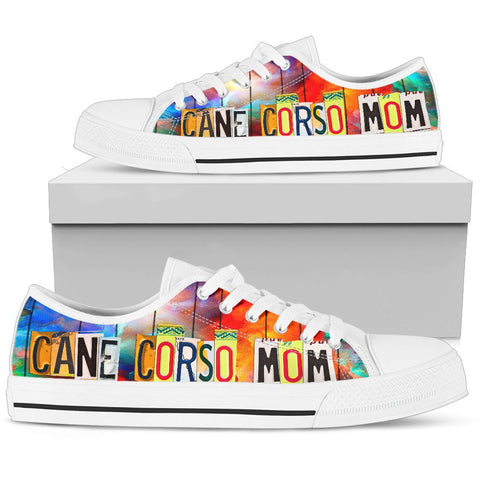 Cane Corso Mom Print Low Top Canvas Shoes for Women