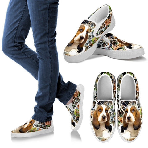 Amazing Basset Hound Print Slip Ons For Women-Express Shipping