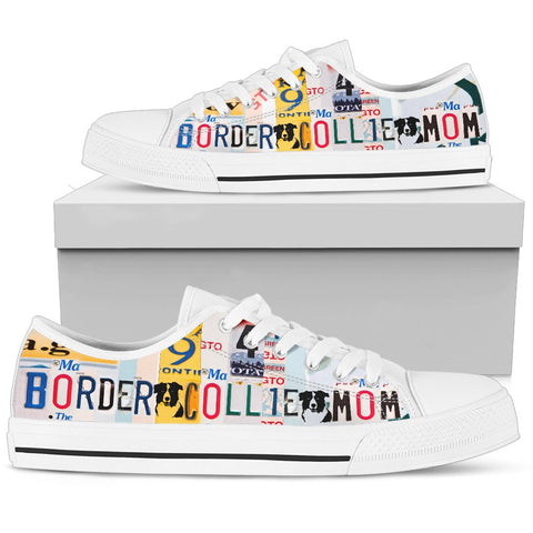 Border Collie mom Print Low Top Canvas Shoes for Women