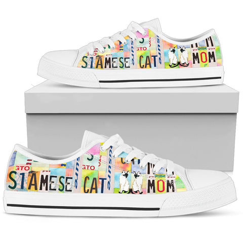 Siamese cat Mom Print Low Top Canvas Shoes for Women