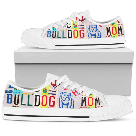Bulldog Mom Print Low Top Canvas Shoes for Women