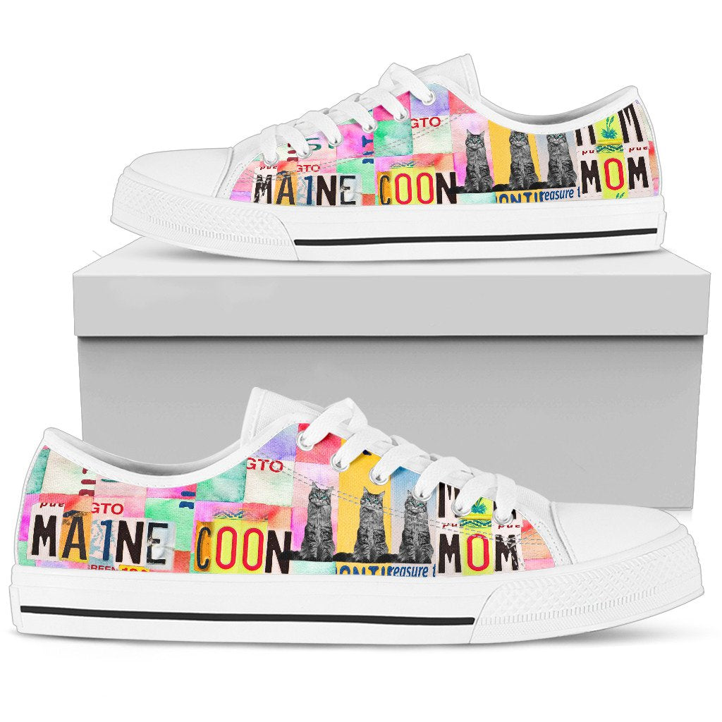 Women's Low Top Canvas Shoes For Maine Coon Mom