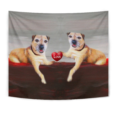 Border Terrier Love Print Tapestry-Free Shipping
