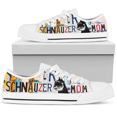 Schnauzer Mom Print Low Top Canvas Shoes for Women