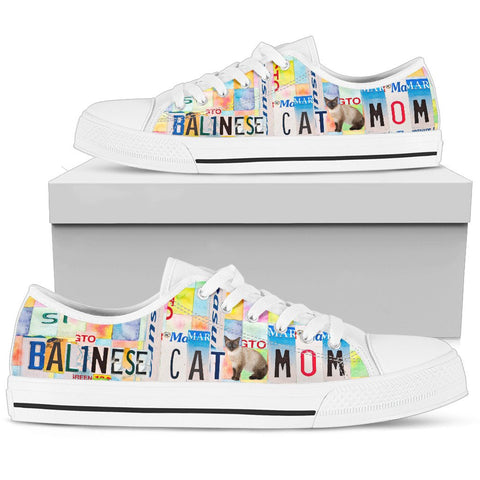 Women's Low Top Canvas Shoes For Balinese Cat Mom