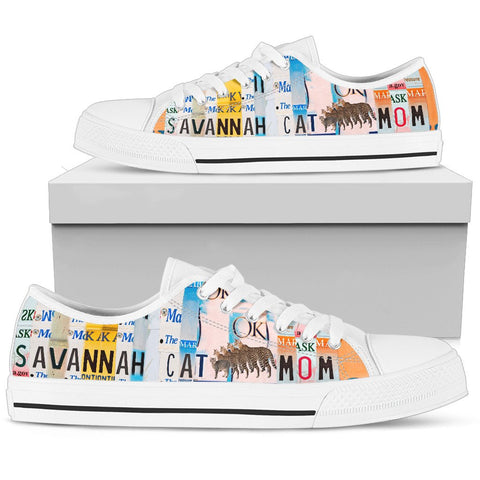 Women's Low Top Canvas Shoes For Savannah Cat Mom