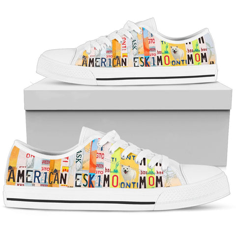 American Eskimo Mom Print Low Top Canvas Shoes For Women