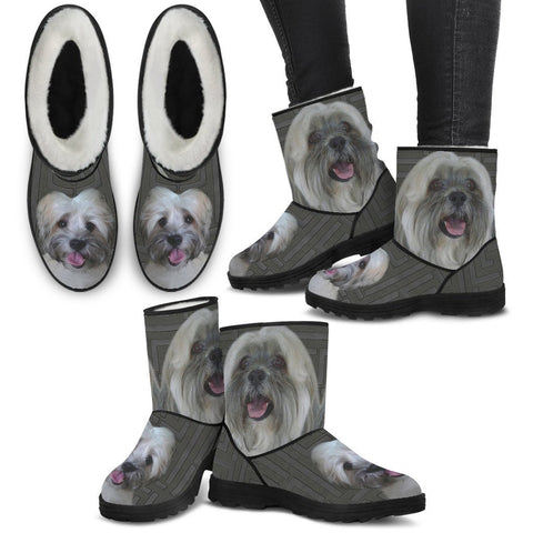 Lhasa Apso Print Faux Fur Boots For Women-Free Shipping