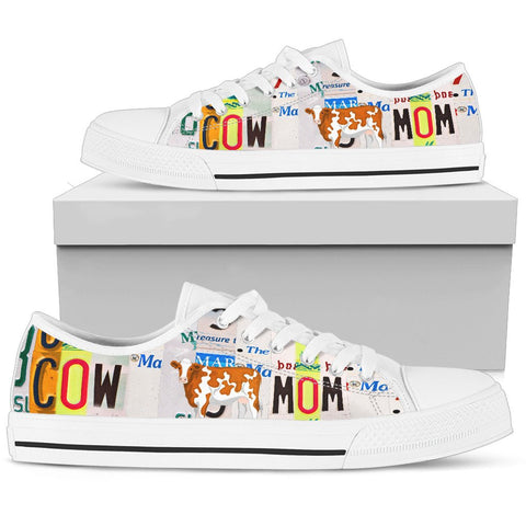 Cow Mom Print Low Top Canvas Shoes For Women