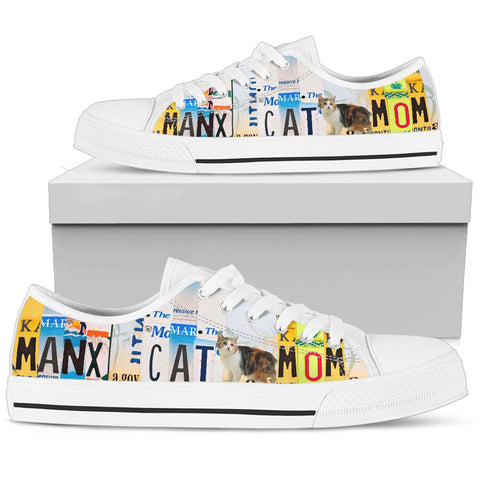 Manx Cat Mom Print Low Top Canvas Shoes for Women