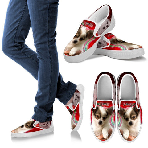 Chihuahua On Red Print Slip Ons For Women- Free Shipping