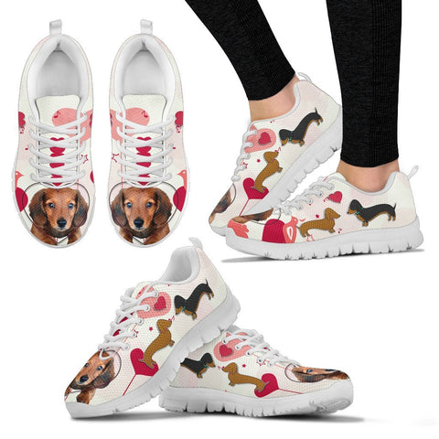 Valentine's Day Special Dachshund Dog Print Running Shoes For Women- Free Shipping