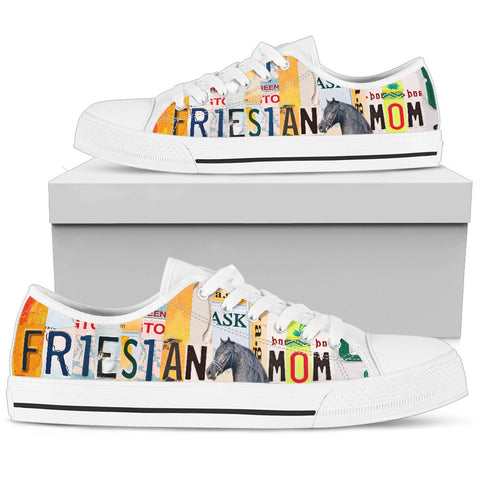 Friesian Horse Print Low Top Canvas Shoes For Women