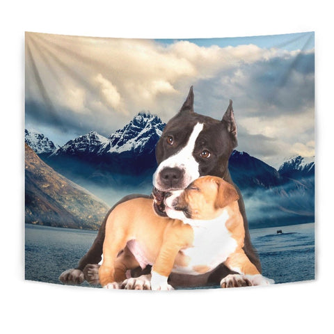 Pit Bull Terrier With Puppy Print Tapestry-Free Shipping