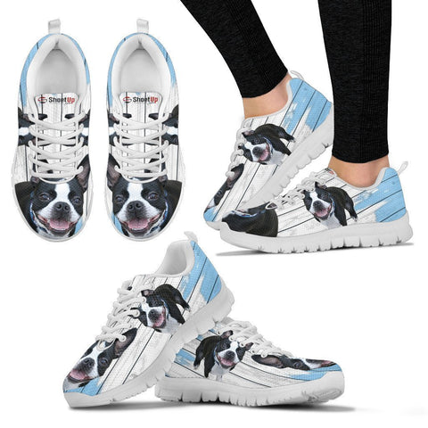 Boston Terrier Blue White Print Sneakers For Women-Free Shipping