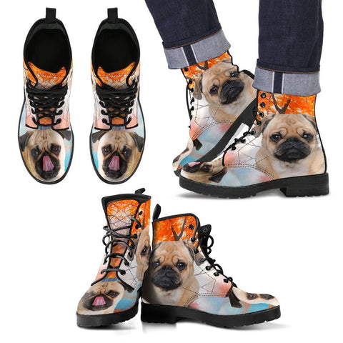 Cute Pug Print Leather Boots For Men- Express Shipping