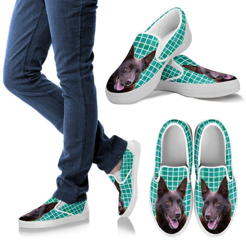 Australian Kelpie Dog Print Slip Ons For Women-Express Shipping