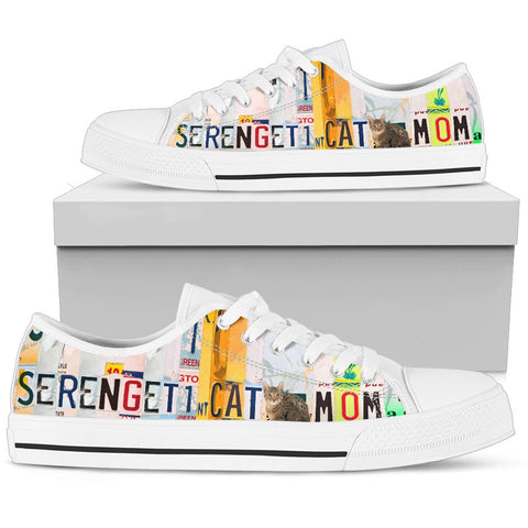 Women's Low Top Canvas Shoes For Serengeti cat Mom