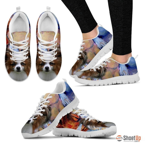 Papillon Dog Print Running Shoe For Women- Free Shipping