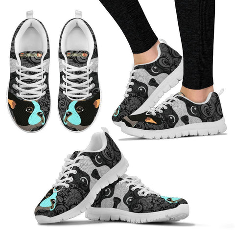 Boston Terrier On Black-Women's Running Shoes For Women-Free Shipping