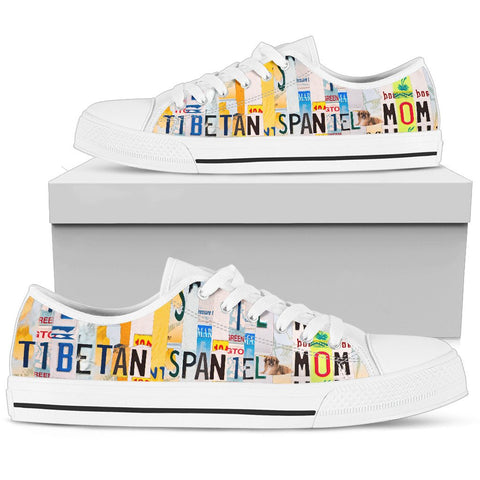 Tibetan Spaniel Mom Print Low Top Canvas Shoes for Women