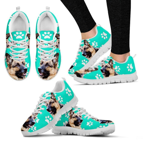Paws Print German Shepherd (Black/White) Running Shoes For Women-Express Shipping