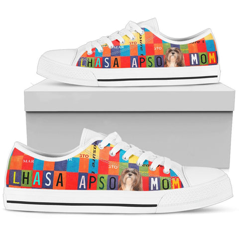 Lhasa Apso Mom Print Low Top Canvas Shoes for Women