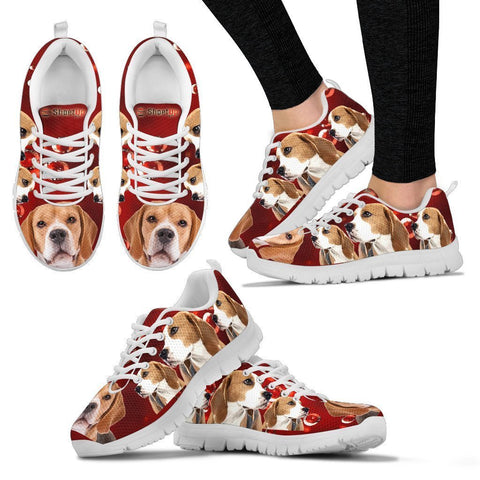Beagle On Red-Women's Running Shoes-Free Shipping