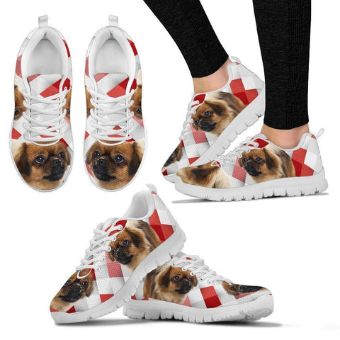 Tibetan Spaniel Red White Print Running Shoes For Women-Free Shipping