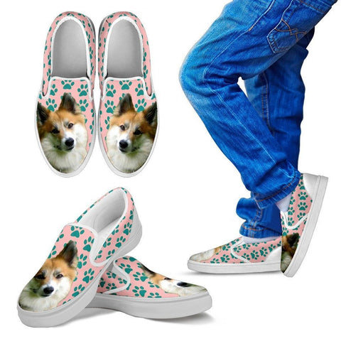 Icelandic Sheepdog Print Slip Ons For Kids-Express Shipping