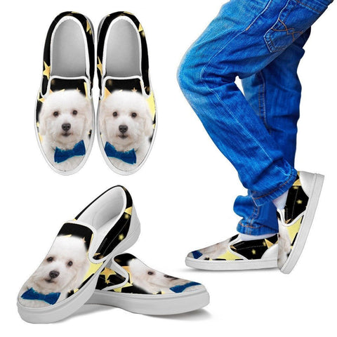 Coton De Tulear Print Running Slip Ons For Kids- Express Shipping