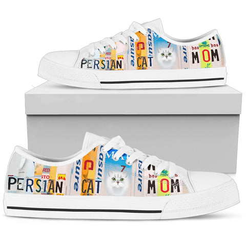 Persian Cat Mom Print Low Top Canvas Shoes for Women